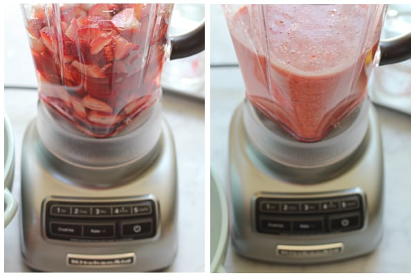 Blending the strawberry mixture for Red White and Blue Granita Dessert.
