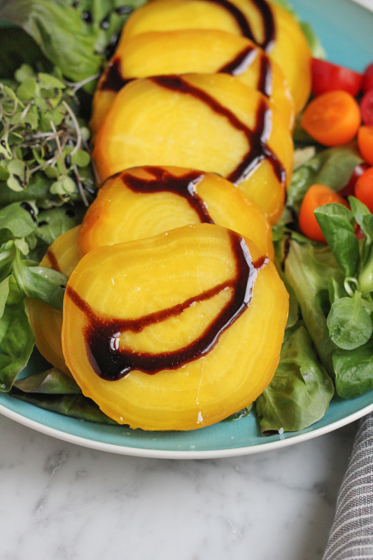 Roasted Golden Beets with Balsamic Glaze - Hip Foodie Mom