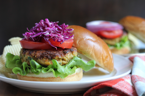 Packed with chickpeas, eggplant, zucchini and flaxseed meal, you have to try my Veggie Chickpea Burger! Full of flavor and healthy!! This is the best chickpea burger ever! #ad