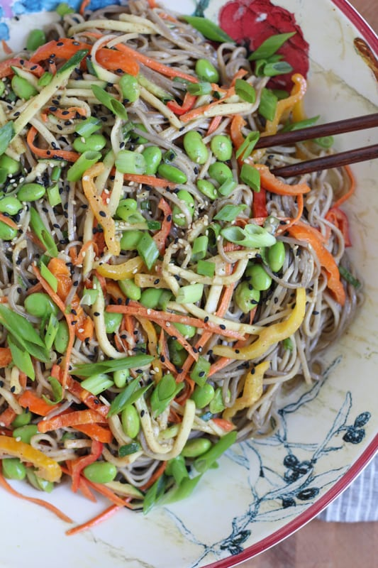 Light Asian Noodle Salad in a bowl with chopsticks.