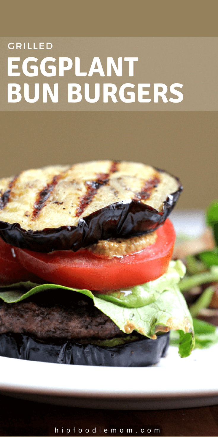 Toss that bread bun and try this Grilled Eggplant Bun Burger!!! Gluten free, low carb, delicious and perfect for summer! #eggplantbun #grilledeggplant #burgers #grilling #lowcarb #glutenfreeburgerbun #glutenfree