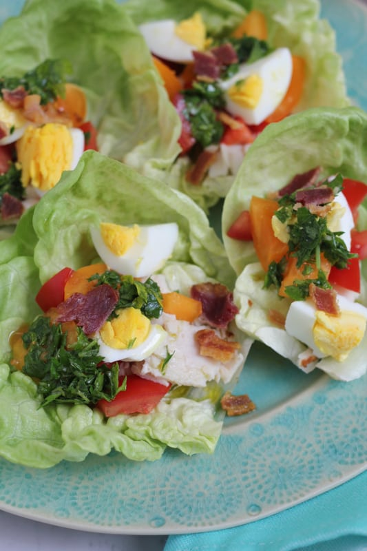 Close up photo of Cobb Salad Lettuce Wraps on a plate.