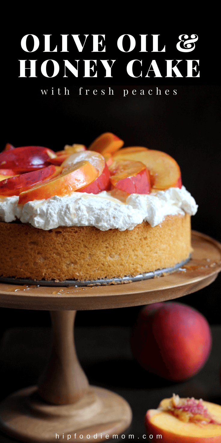 Olive Oil Honey Cake with Fresh Peaches. Olive Oil Honey Cake with fresh whipped cream, sliced peaches and lightly drizzled with honey! #oliveoilcake #peaches #peachesandcream #summerdessert #honeycake #cake
