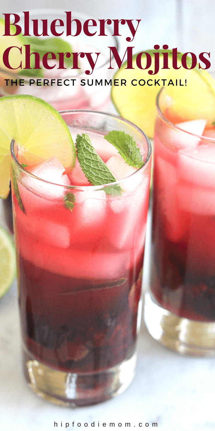 Blueberry Cherry Mojito! Channel your inner mixologist and try this refreshing and delicious Blueberry Cherry Mojito! Sweetened with fresh blueberries and cherries, this mojito is amazing and perfect for summer! #mojitos #cocktails #summercocktail #blueberries #blueberrycocktail #cherries #cherrycocktail #drinks #cocktailhour