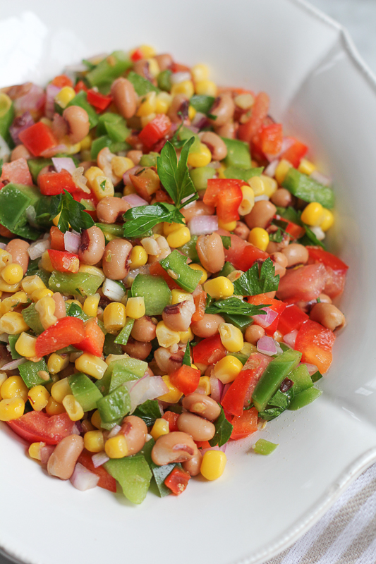 Texas Caviar! A quick and easy to make salad of black-eyed peas lightly pickled in a vinaigrette-style dressing mixed with veggies! The perfect snack or appetizer! #ad