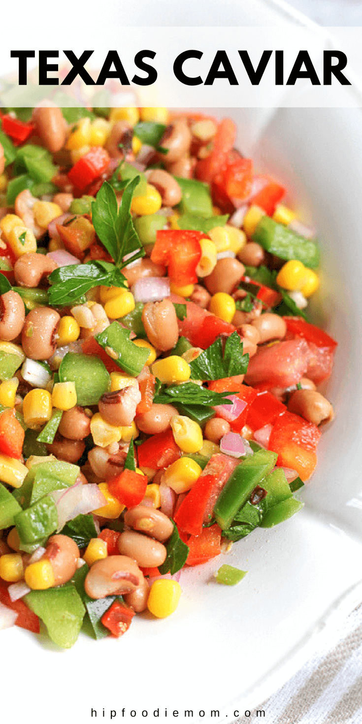 Texas Caviar! A quick and easy to make salad of black-eyed peas lightly pickled in a vinaigrette-style dressing mixed with veggies! #texascaviar #appetizer #snack #salad #beansalad #healthy #cowboycaviar