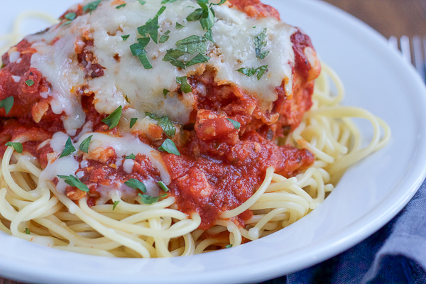 Slow Cooker Chicken Parmesan! The easiest and most delicious recipe! This is the perfect weeknight dinner! Let your slow cooker do all of the work for you!