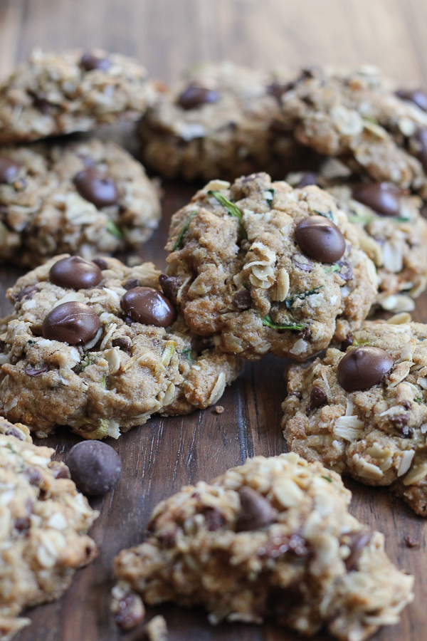 Gluten Free Zucchini Coconut Chocolate Chip Cookies! So moist, flavorful and delicious! I love the texture in these cookies! #glutenfree