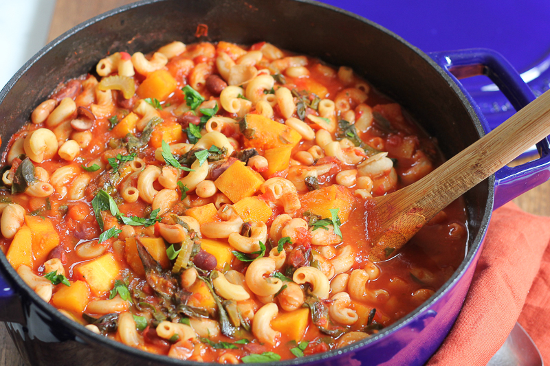 Warm, hearty and delicious Vegetarian Pasta e Fagioli, filled with your favorite fall vegetables, butternut squash and swiss chard! You have to try this! #ad