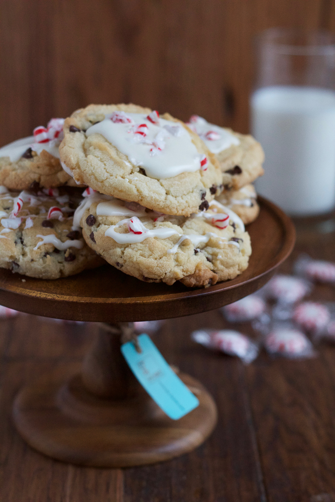 Double Peppermint Chocolate Chip Cookies! Minty chocolate chip cookies with a sweet glaze and crushed peppermint candies on top! The perfect holiday cookie! #BHGCookieExchange
