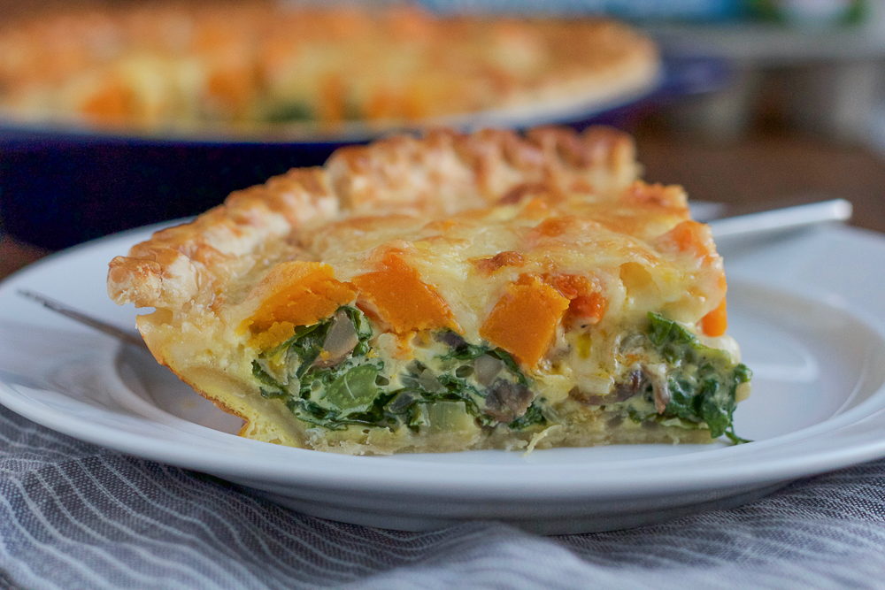 Celebrate the flavors of the season with this fall inspired quiche! Packed with roasted butternut squash, kale and gruyere cheese, this quiche will make the perfect breakfast or brunch! #ad