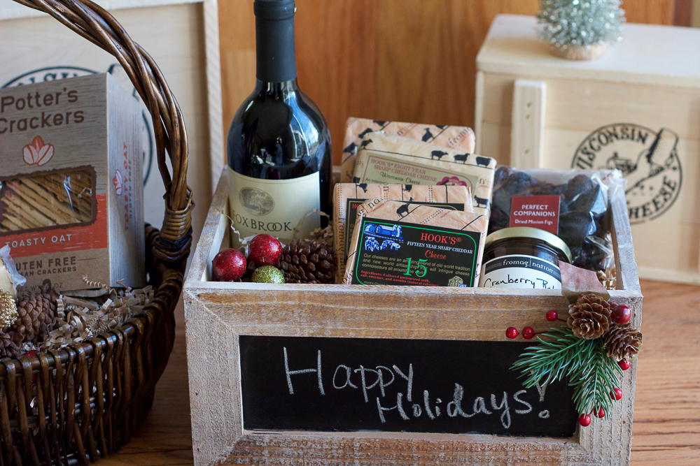 DIY Food Gift Baskets!!! Put together your own food gift basket as a gift this year! Customize it based on what your friends and family like! It's so easy and you can be as creative as you like!