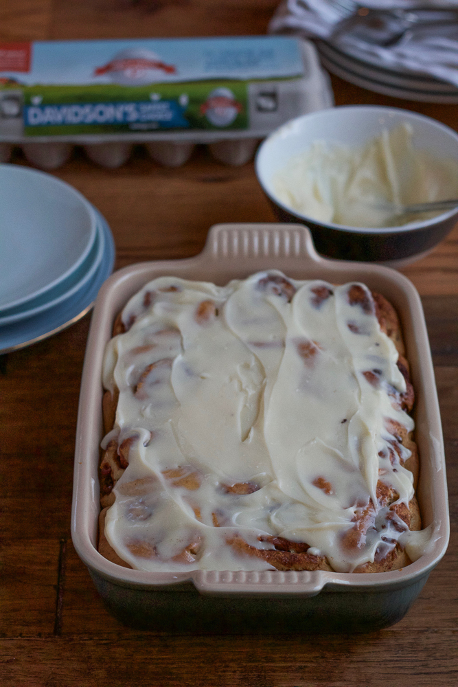 Light, fluffy, delicious Eggnog Cinnamon Rolls! A holiday version of classic cinnamon rolls with an eggnog cream cheese frosting. Perfect for Christmas morning! #ad #safenog