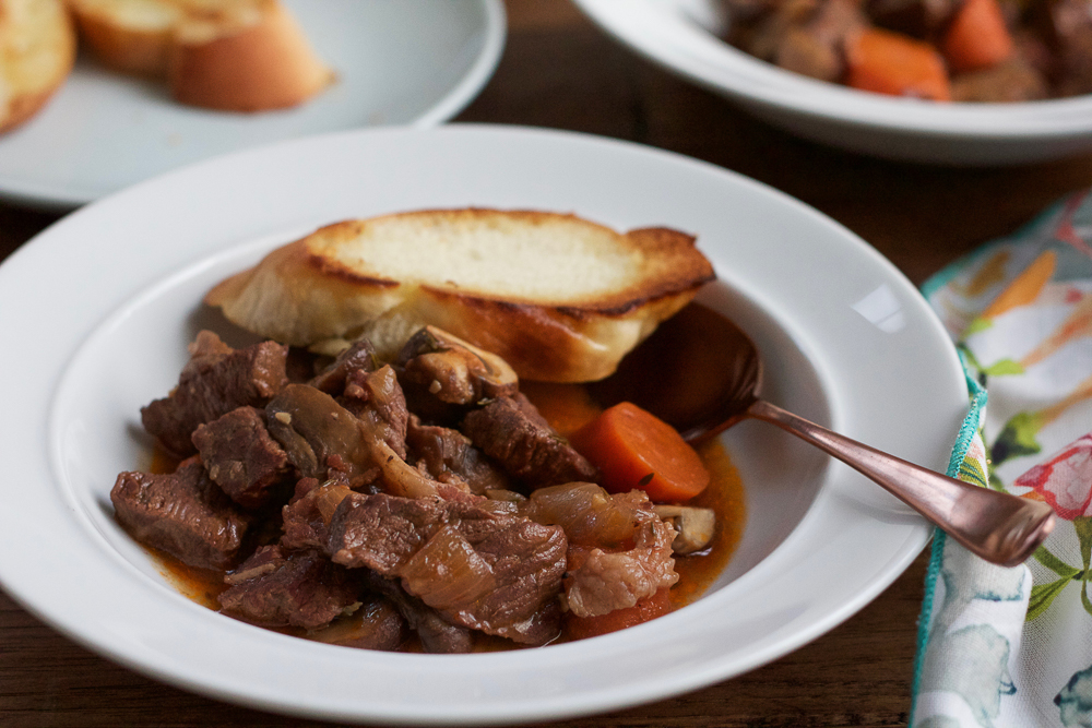 Beef Bourguignon. Warm, rich and comforting, this is one of my favorite French food recipes. Serve with crusty bread to soak up the sauce.