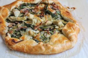 Spinach Mushroom and Artichoke Galette