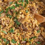 ground beef stroganoff in a skillet