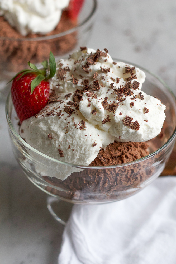 Dark Chocolate Mousse. Thick and rich with a deceptively light and airy texture. Only five ingredients are needed to make this decadent, delicious dessert!
