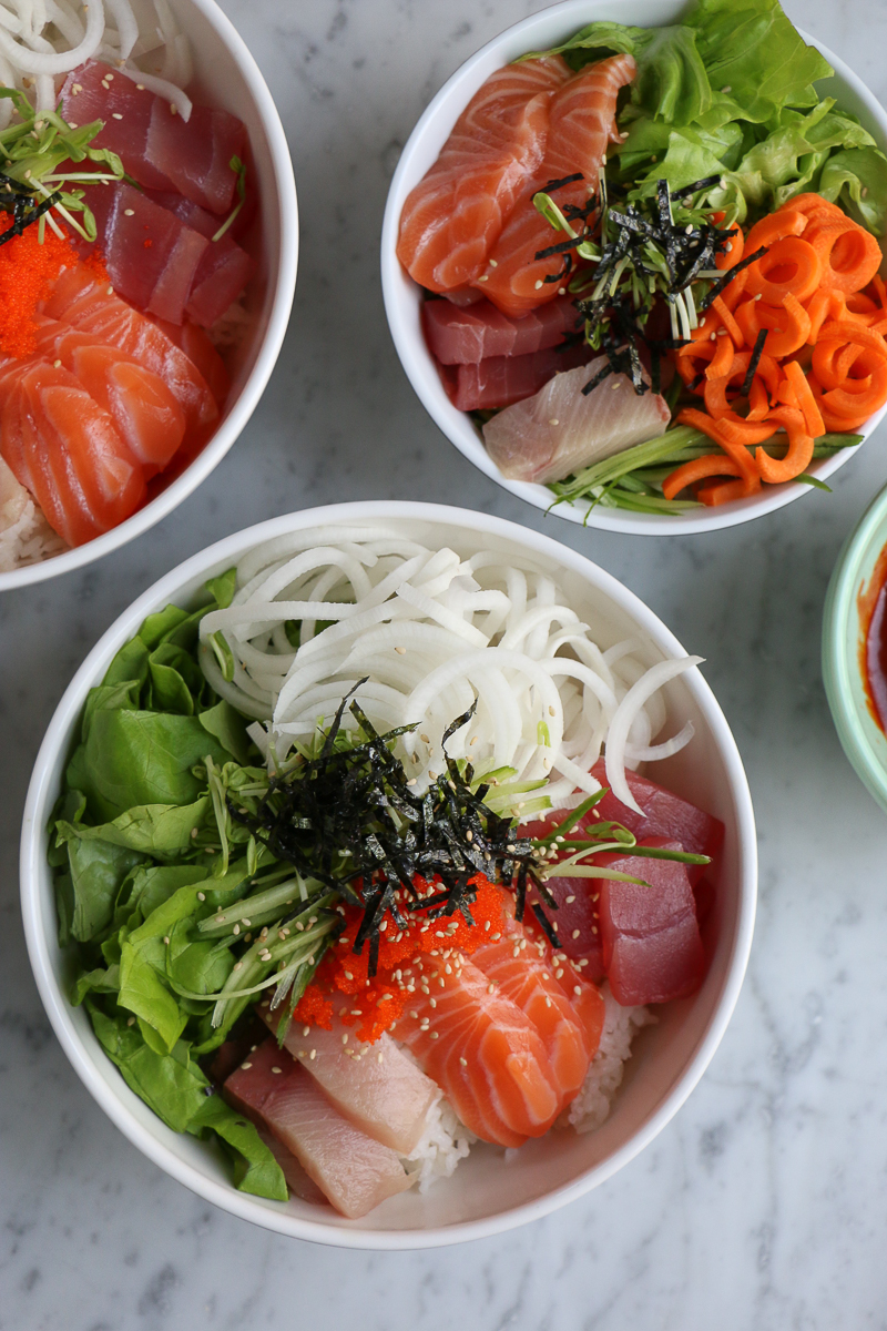 Sashimi Rice Bowl!!! If you thought making sushi at home was hard, keep reading! I'm starting a 4-part Sushi Series with KitchenAid and kicking it off with one of my favorites! My Sashimi Rice Bowl with Spiralized Vegetables! Making sushi at home is not as hard as you think!