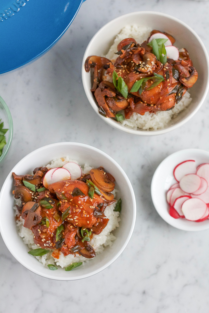 Spicy Korean Chicken Stew! Amazing and super yummy sweet and spicy chicken made with gochujang, coconut sugar, garlic, soy sauce and chicken stock. So delicious and so easy to make!