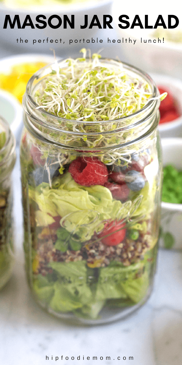 Mason Jar Salad! The perfect, portable way to eat healthy! Pack your mason jar salad with your favorite salad ingredients. Everything stays fresh until you need it! Just dump, mix, add your dressing and enjoy! #salad #masonjarsalad #mealprep #lunch #healthy #layeredsalad #vegetarian #vegan #glutenfree