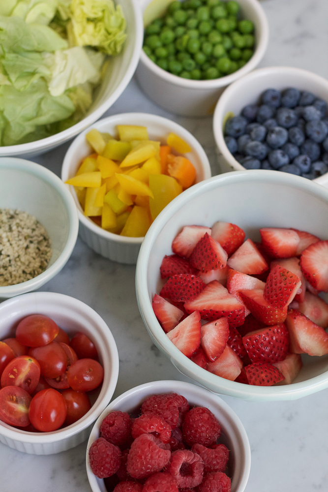 Ingredients for Mason Jar Salad in bowls.