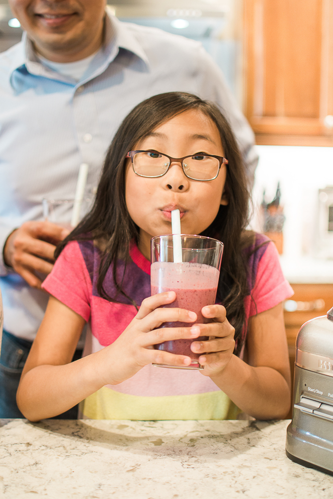 Our Favorite Smoothie! Start off your mornings right with this family favorite! Fresh bananas, frozen mangos and berries, yogurt, almond milk, flaxseed meal and more. My kids love this smoothie and yours will too!