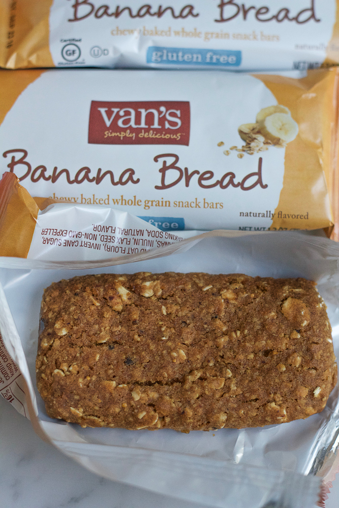 Coconut Cream Snack Bars! Homemade whipped coconut cream with strawberries and bananas sandwiched in between Van's Banana Bread Snack Bars! What could be better?! and they're gluten free!