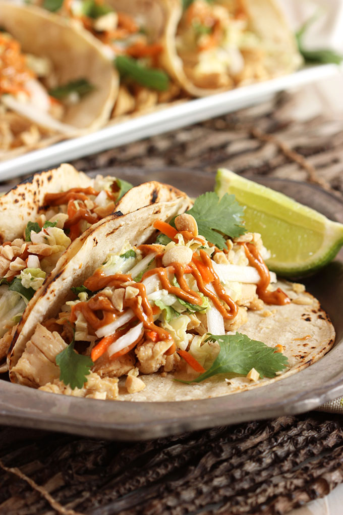 ... Balsamic Glaze, Thai Chicken Tacos with Spicy Peanut Sauce and more