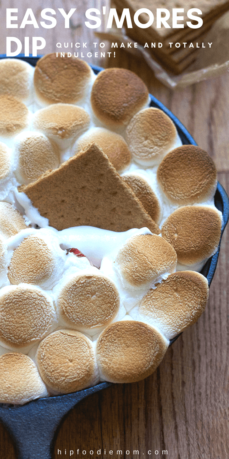 Easy S'mores Dip! Completely indulgent and yummy, this is the perfect quick dessert to make at home and share with friends and family! #s'mores #s'moresdip #dessertdip #dessert #strawberries #summerdessert #familydessert #easydessert