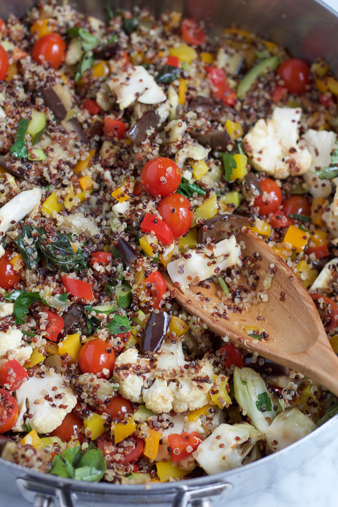 Summer Quinoa Salad! The perfect way to use and enjoy in season produce this summer. This light, colorful and flavorful quinoa salad is filled with zucchini, eggplant, tomatoes and goes perfectly with entwine wine's Pinot Grigio. I hope you give this salad a try!