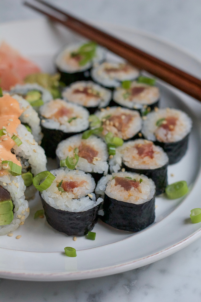 Spicy Tuna Roll! Learn how to make your favorite sushi roll at home! And I show you two ways to make a Spicy Tuna Roll!