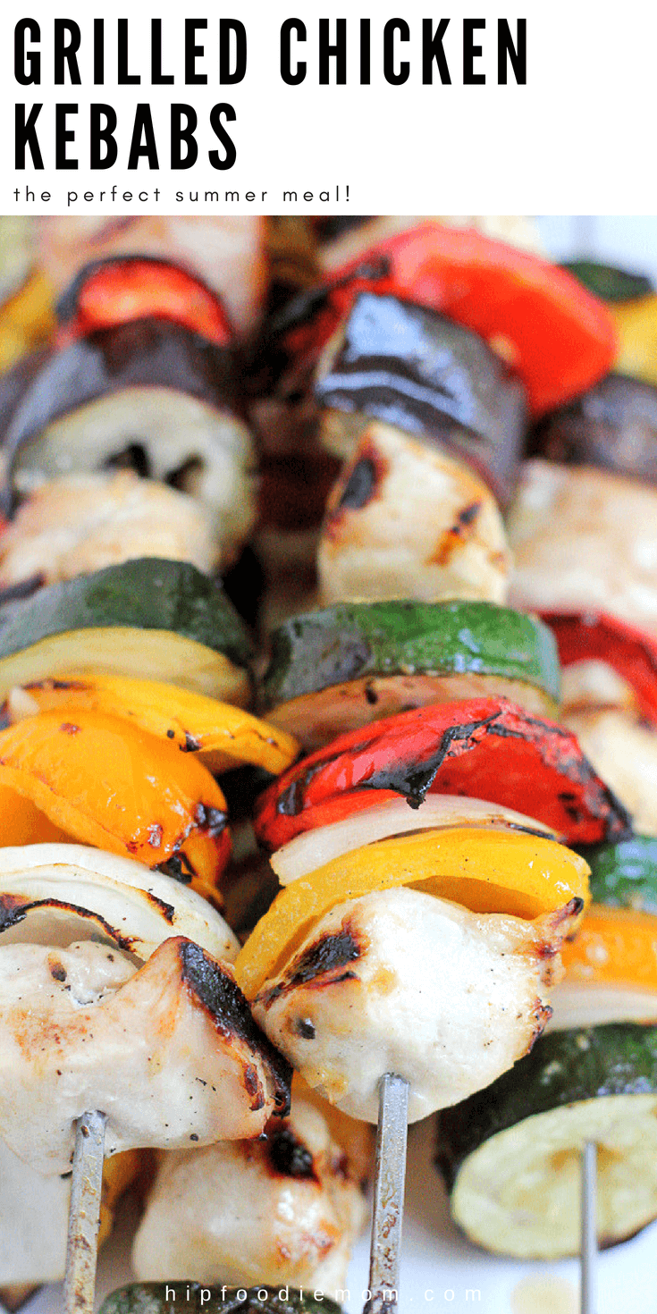 Grilled Chicken Kebabs!! Marinate the cubed chicken overnight, assemble your kebabs and throw them on the grill! The perfect summer meal! #chickenkebabs #kebabs #grilling #summer #chickenrecipe #easydinner