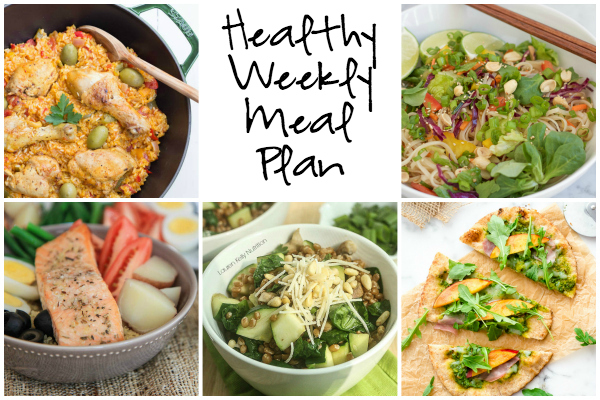 Healthy Weekly Meal Plan 8.20.16! A healthy weekly meal plan featuring a Korean noodle salad, a Warm Berry Spinach Wheat Berry Salad, a Salmon Nicoise salad and more!
