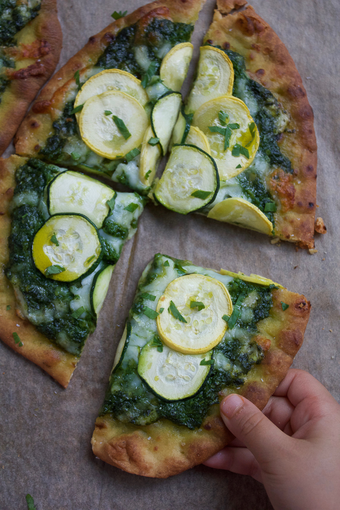 Zucchini Pesto Pizza! Paired with milk, this pizza is a nutritious and ...