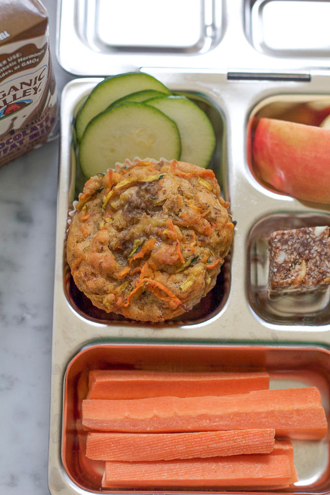 Zucchini Carrot Muffins!!! Packed with nutrition and colorful veggies, these muffins will make a wonderful, healthy addition to your child's lunch!