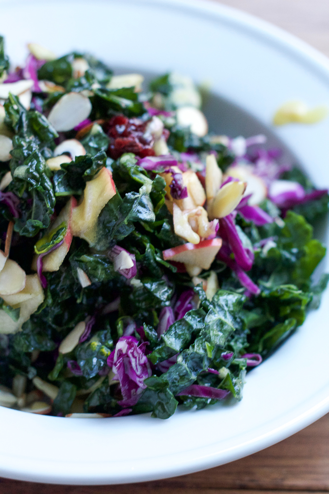 Crunchy Kale Salad! Classic kale salad with lots of crunchy toppings and a honey dijon mustard and orange dressing.