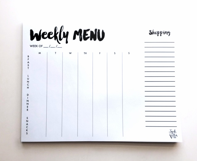 A Week of Meals + $100 Giveaway to Jack and Ella Paper!! They carry everything you need to help you with meal planning! A weekly grocery shopping list notepad, weekly menu notepad and more!