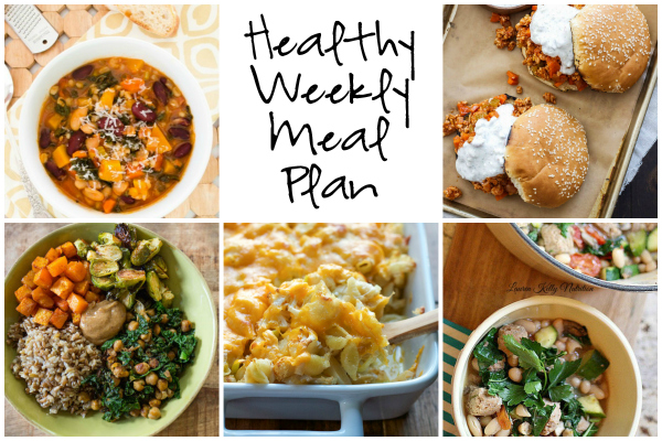 Healthy Weekly Meal Plan 10.22.16! Fall is here in full swing! A healthy weekly meal plan featuring White Bean Kale Sausage Stew, Buffalo Chicken Sloppy Joes, Autumn Minestrone Soup, Spicy Cauliflower Mac and Cheese and more!