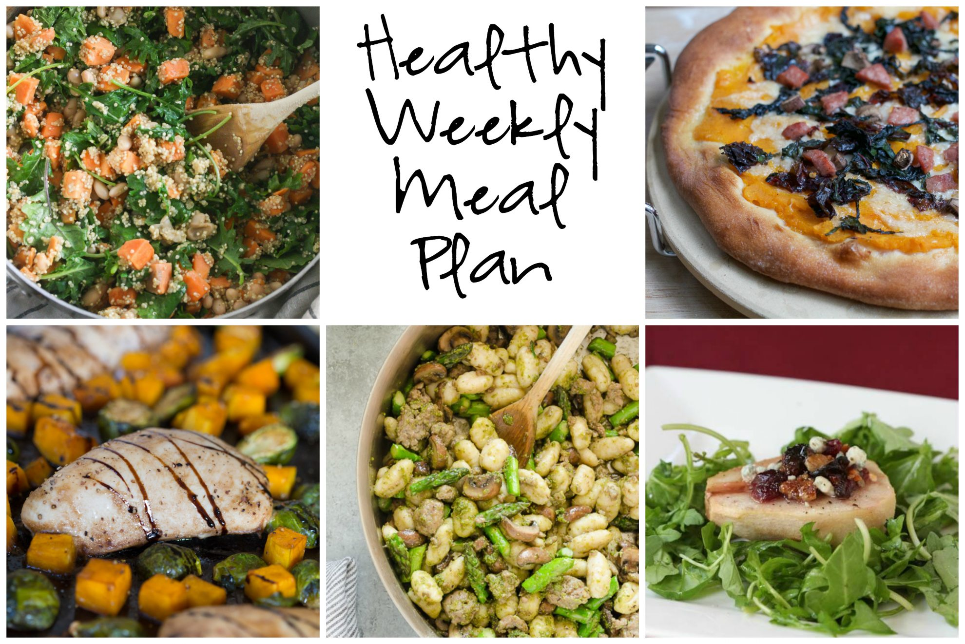 Healthy Weekly Meal Plan 11.5.16! A healthy weekly meal plan featuring Roasted Butternut Squash Pizza, One Pot Sweet Potato Kale Quinoa Skillet, Pesto Gnocchi, Maple Balsamic Chicken with Brussels Sprouts and more!