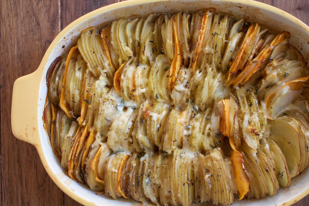 Hasselback Potato Gratin. Slices of Yukon gold potatoes and yams ...