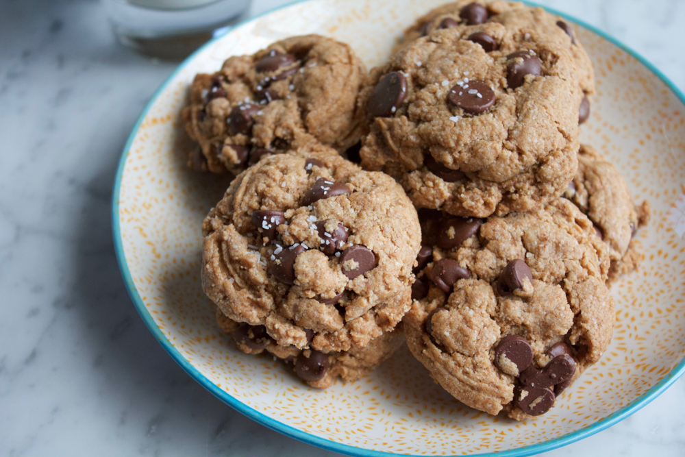 chocolate chip cookies made with a flax egg coconut flour almond flour ...