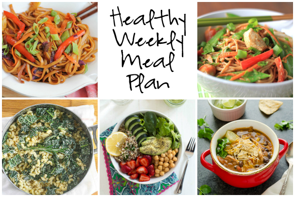 Healthy Weekly Meal Plan 1.21.17! Check out this week's meal plan featuring Thai Coconut Peanut Chicken Noodles, a Berry Green Buddha Bowl, Veggie Lo Mein and more!