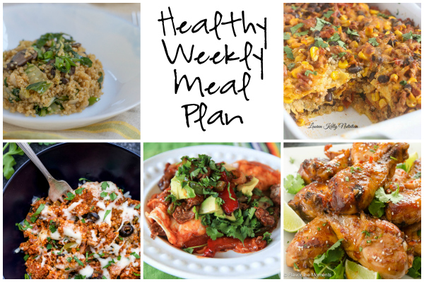 Healthy Weekly Meal Plan 1.28.17! Check out this week's meal plan featuring Supreme Pizza Quinoa, Asian Quinoa Bok Choy, Mexican Quinoa Lasagna and more!