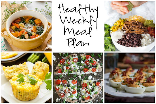 Healthy Weekly Meal Plan 1.7.17! Check out this week's meal plan featuring a Greek Veggie Pizza, Autumn Vegetable Soup, Slow Cooker Barbacoa Beef Burrito Bowls and more!