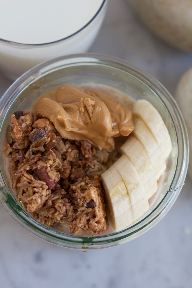 Almond Butter Banana Overnight Oats! Prep everything the night before and wake up to this delicious and nutritious breakfast! Have you tried overnight oats yet? If not, what are you waiting for?