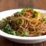 Korean Japchae on white plate