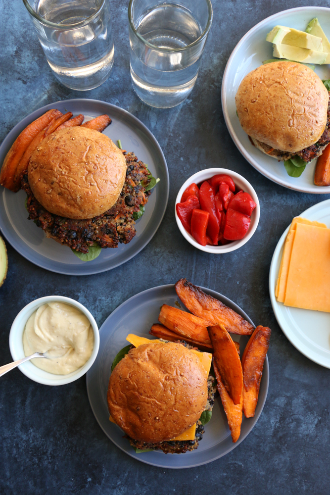 Black Bean Quinoa Burgers with sweet potato fries from Sun Basket! It's not easy to make an awesome vegetarian burger, but the Sun Basket kitchen team nailed it with this one! Read below to get this fabulous recipe and to get $30 off your first purchase!