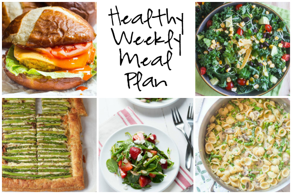 Healthy Weekly Meal Plan 3.25.17 featuring a 30 Minute Skillet Pasta Primavera, Buffalo Quinoa Burgers, an Asparagus Gruyere Tart and more!
