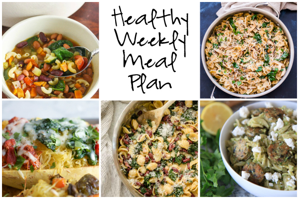 Healthy Weekly Meal Plan 3.4.17 featuring Spaghetti Squash Lasagna, Easy Minestrone Soup, Sausage Feta and Almond Parsley Pesto Pasta and more!