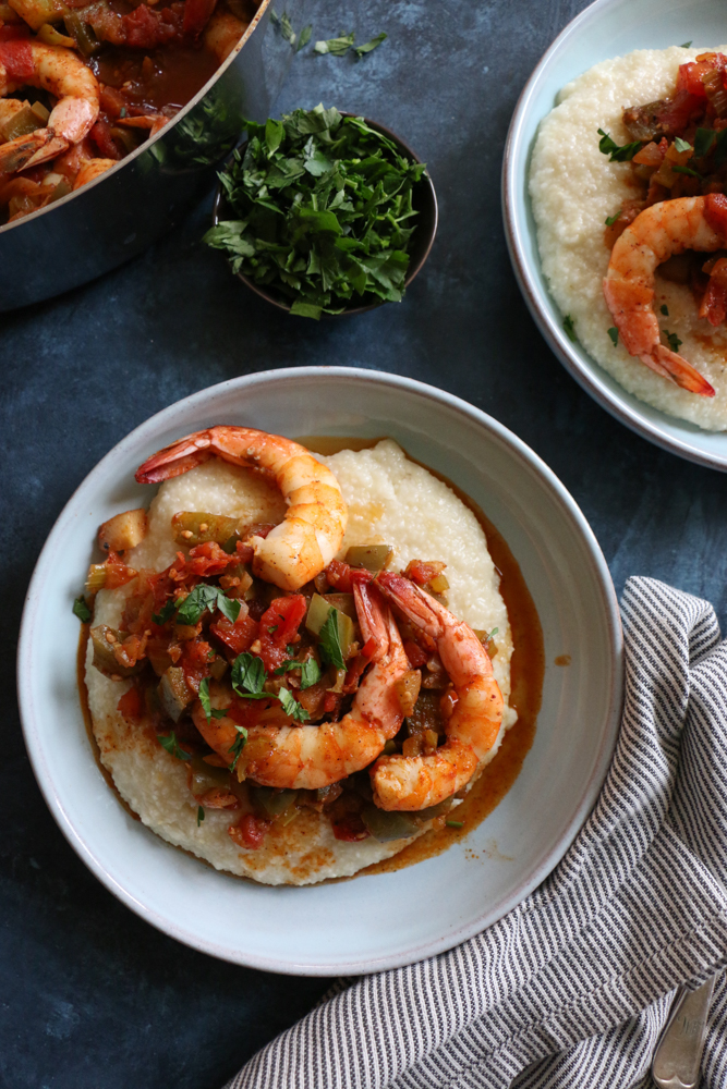 Creole Shrimp and Grits + A Giveaway! A fresh, faster, delicious spin on a Southern food classic from the Add A Pinch cookbook. You've got to try this recipe!